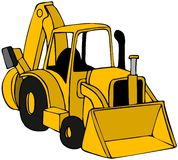 Backhoe. This illustration depicts a yellow construction backhoe Stock Photo