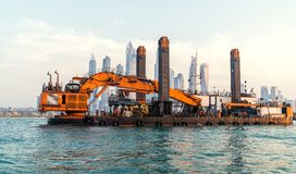 Backhoe bagier w Dubaj, UAE obrazy royalty free