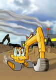 Backhoe on construction site, active Royalty Free Stock Photography