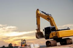 Backhoe at a construction site royalty free stock image