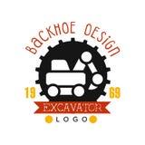 Backhoe design, estd 1989, excavator logo vector Illustration. On a white background Royalty Free Stock Image