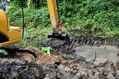 Backhoe dig ground stock photo