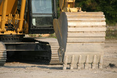 Backhoe on digger. Details of backhoe on construction digger Royalty Free Stock Image
