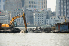 Backhoe on the Huangpu River Stock Image