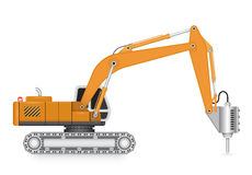 Backhoe_hydraulics_hammer Stock Photos