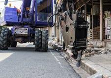 Backhoe industrial, perfuração movente da escavadora Fotos de Stock Royalty Free