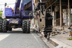 Backhoe industrial, perfuração movente da escavadora Imagem de Stock