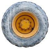 backhoe isolerat traktor använt hjul royaltyfri fotografi