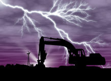 Backhoe with lightning. On purple background and clouds farm setting with copy space Royalty Free Stock Photography
