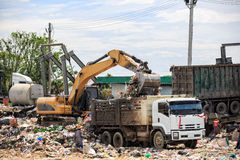 backhoe load garbage Royalty Free Stock Images