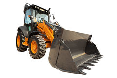 Backhoe loader or bulldozer - excavator with clipping path isola Royalty Free Stock Photo