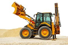 Backhoe loader or bulldozer - excavator isolated with clipping path. Backhoe loader or bulldozer - excavator isolated on white background with clipping path stock image