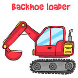 Backhoe loader cartoon vector art Stock Photos