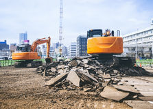Backhoe Loader digger work at building construction site outdoor Royalty Free Stock Image