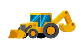 Backhoe loader excavator minimalistic icon. Isolated. Construction equipment isolated vector. Heavy equipment vehicle. Color icon illustration on white Stock Photography