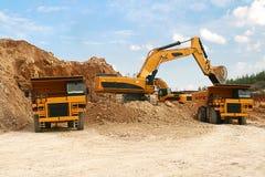 Backhoe loaderloading dumper stock images