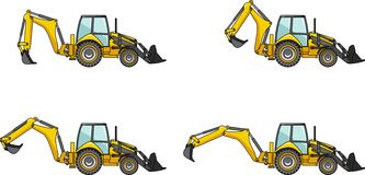 Backhoe loaders. Heavy construction machines. Detailed illustration of backhoe loaders, heavy equipment and machinery Stock Photography