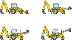 Backhoe loaders. Heavy construction machines. Vector illustration Royalty Free Stock Image