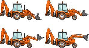 Backhoe loaders. Heavy construction machines. Vector illustration. Stock Image