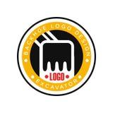 Backhoe logo design, excavator equipment service label vector Illustration. On a white background Stock Photography