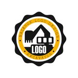 Backhoe logo design, excavator equipment service round yellow and black label vector Illustration. On a white background Royalty Free Stock Photography