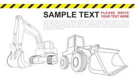 Backhoe, máquina escavadora amarela, veículos da construção Conceito simples da máquina escavadora ilustração do vetor