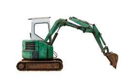 Backhoe old on white background with clipping path. Royalty Free Stock Image