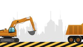 Backhoe passing by city. Under construction sign stock video