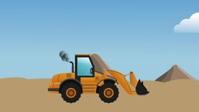 Backhoe passing HD definition. Backhoe passing by construction zone High definition colorful scenes stock video footage