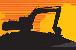 Backhoe. The shadow backhoe with a yellow background Royalty Free Stock Image