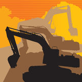 Backhoe. The shadow backhoe with a yellow background Stock Images