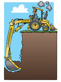 Backhoe tractor digging a deep hole. Ad frame with a cartoon yellow backhoe tractor digging a deep hole stock illustration
