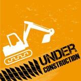 Backhoe under construction. Backhoe under constrution over orange background  illustration Stock Photo
