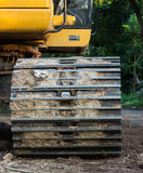 Backhoe wheel located on site Stock Photos