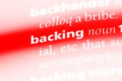 Backing. Word in a dictionary.  concept Royalty Free Stock Image