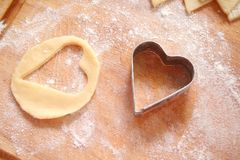 Backing. Some heart cookies on christmas Royalty Free Stock Photos