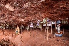 Backing Tianshui Maiji Mountain cliff crevice under Royalty Free Stock Images