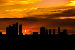 Backlight of a building city in a beautiful sunset Stock Photos