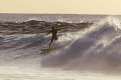 Backlight Silhouette Surfer Stock Image