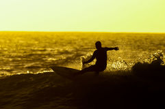 Backlight Silhouette Surfer Royalty Free Stock Images