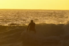 Backlight Silhouette Surfer Stock Photo