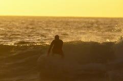 Backlight Silhouette Surfer Stock Photo