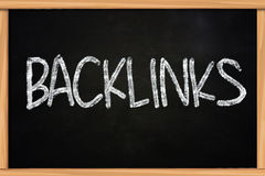 Backlinks Concept. The word backlinks written with chalk on blackboard Royalty Free Stock Images