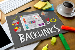 Backlinks technologii sieci Backlinks Online technologii Online sieć Obraz Royalty Free