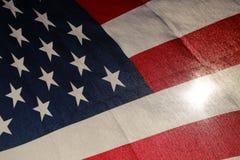 Backlit amerikanska flaggan Fotografering för Bildbyråer
