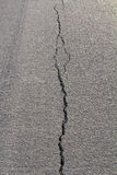 Backlit asphalt cracks Stock Photo