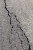 Backlit asphalt cracks Stock Photos