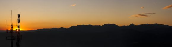 Backlit berglandschap Royalty-vrije Stock Foto