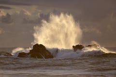 Backlit big wave splash at sunset Stock Photos