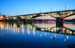 Backlit bridge at night Stock Photography